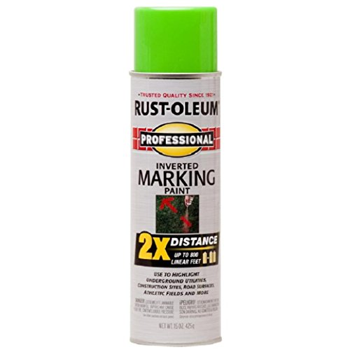 Rust-Oleum 266574 Professional 2X Distance Inverted Marking Spray Paint, 15 oz, Fluorescent ()