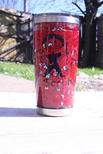 I Scrub Red Glitter Nurse Hat Glitter Snow Globe 20 oz Stainless Steel Double Walled Tumbler with lid scrub nurse coffee cup, scrub tech mug