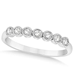 (0.10ct) Palladium Diamond Accented Round Bezel Set Wedding Band