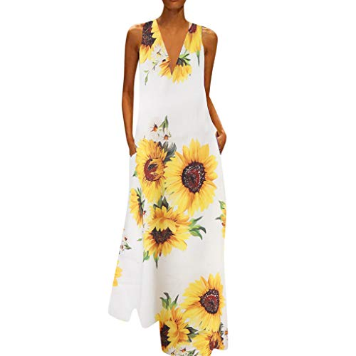 Duseedik Women's Sunflower Dresses Summer Casual Print Dress Plus Size V-Neck Sleeveless Loose Party Long Dress White -