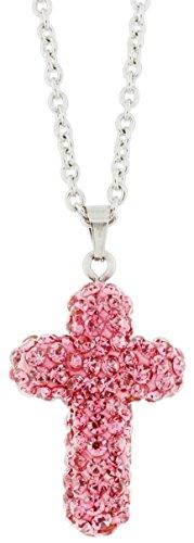 Go Steel Pink Rhinestone Cross Necklace on 17