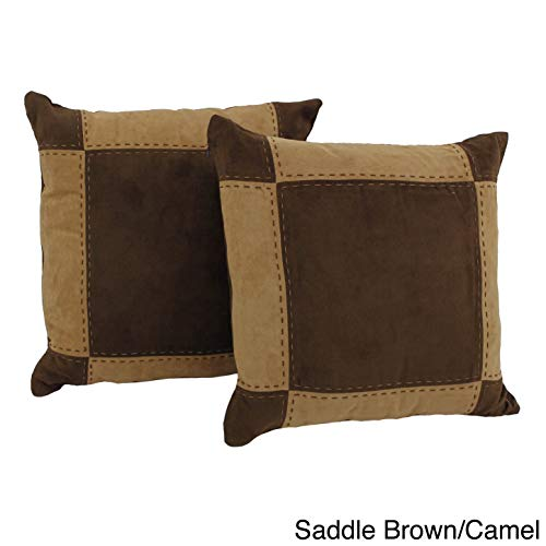 Blazing Needles Patchwork Micro-Suede Throw Pillows (Set of 2) Brown ()