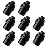 Aplstar E26 E27 Light Socket,8-pack Black Edison Retro Pendant lamp holder, E26 E27 Plastic Standard Screw-in Socket Maximum Wattage 250W Heat Resistant Up to 200℃ Fire Resistant