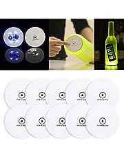Baiwka LED Coaster, 10 Pack LED Stickers Light Up Bar Coasters LED Bottle Lights For Drinks, Flash Light Up Cup Coaster Knipperende Shots Light