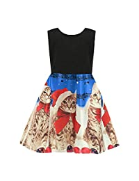 Clearance!! 2-7T Toddler Baby Girls Christmas Princess Dress Sleeveless Cartoon Cat Print Party Wedding Dresses Outfits