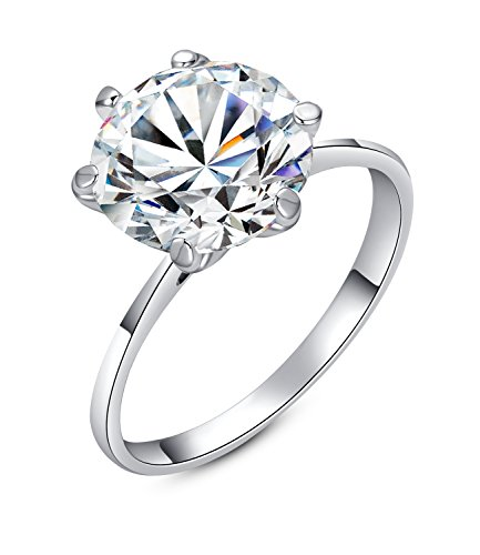 Yoursfs 18k White Gold Plated Engagement Rings Silver - 9