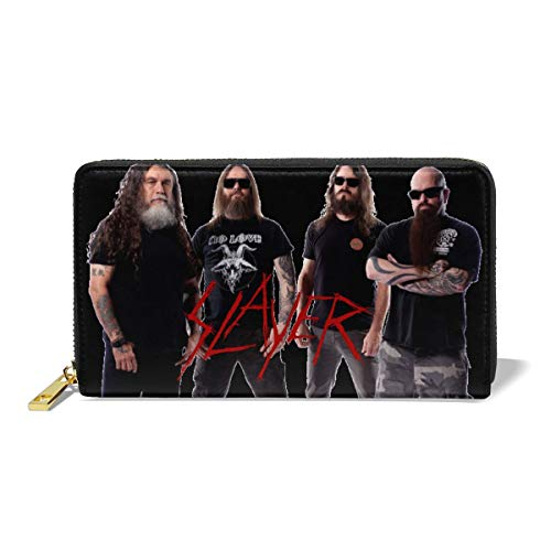 (Slayer Band Blocking Wallet Long Handbag Large Capacity Genuine Leather Purse Clutches Bifold Multi Card Holder Organizer Phone Bag for Men Women)