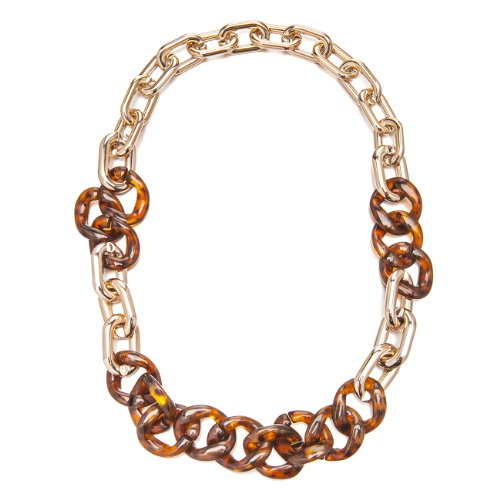 Faux Tortoise Shell & Lucite Rose Gold Links Chunky Necklace. Marbled Chunky Links and Faux Metal, Designer Necklace. Contemporary Statement Jewellery for a Perfect Stocking Filler. (Tortoise Necklace Faux Shell)