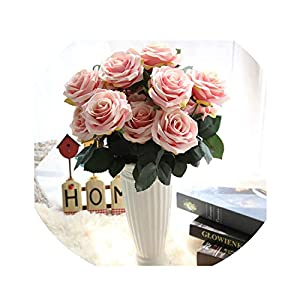 10 Heads Rose Artificial Flower Silk Flower Rose Bouquet for Wedding Home Farmhouse Decoration Fall Decoration Fake Flowers 82