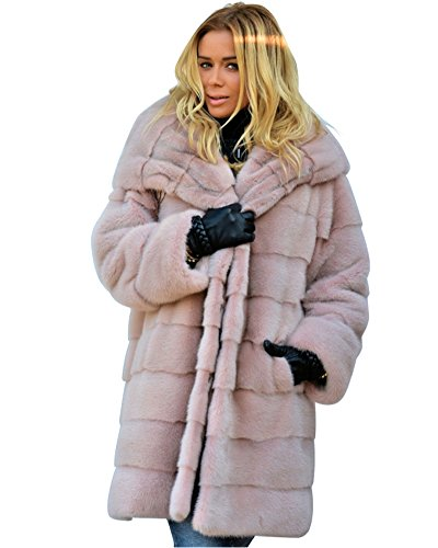 Aox Women Winter Coat Grey Fluffy Faux Fur Hood Warm Thicken Casual Outdoor Jacket Anorak Plus Size (S, Pink)