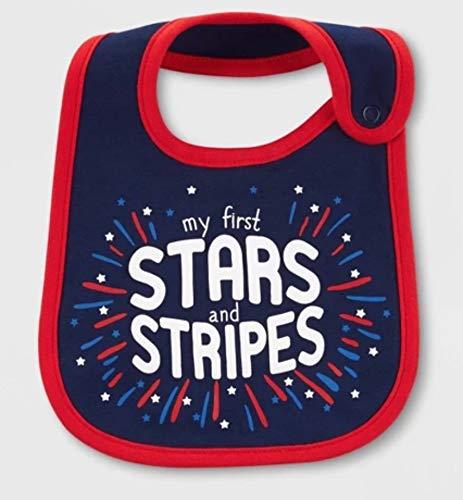 Baby Stars and Stripes Patriotic Red White Blue Baby Bib ()