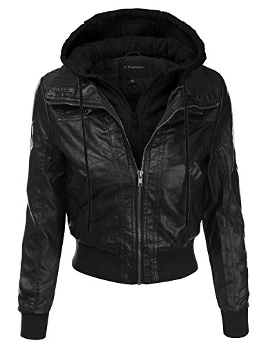 JJ Perfection Women's Faux Leather Fleece Hoodie Jacket w/ Pocket Design BLACKBLACK 3XL
