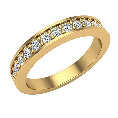 Wedding Band for Women Pavé set Diamonds 3.25 mm Wide Matches Diamond Engagement Ring 14K Yellow Gold (Ring Size 4)