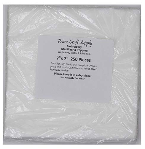 (Wash-Away Water Soluble Stabilizer 7 inch x 7 inch 250 Precut Sheets Embroidery Stabilizer & Topping)