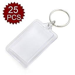 GOGO 25 PCS Acrylic Photo Keychains, 1-5/16 x 2 Inches, Promotion Gift Idea