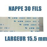 KALEA-INFORMATIQUE © - Nappe flexible plate /// 30 FILS - LONGUEUR 200mm - LARGEUR 15.5mm // pour utilisation electronique et/ou informatique (connecteurs ZIF wire-to-board) - type AWM - FPC RIBBON FLEX CABLE
