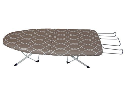 Brown Elegant Folding Ironing Board, Convenient, Compact for Storage, Retractable Iron Rest and Heat Resistance Cover and Pad, Color: Elegant Trellis