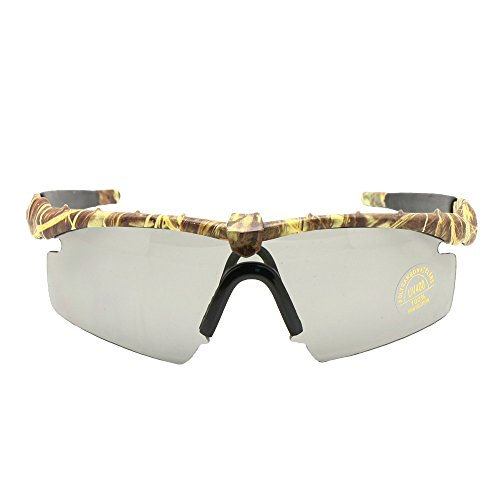Polarized Army Sunglasses Ballistic Military Goggles Men Frame 3/4 Lens Combat War Game Eyeshields (Camouflage, Polarized 4 Lens)