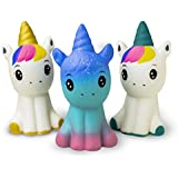 """Slow Rising Squishy Unicorn Set of 3, 4.8"""" Soft Scented Soft Kawaii, Colorful Animal Stress Relief Toy for Kids"""