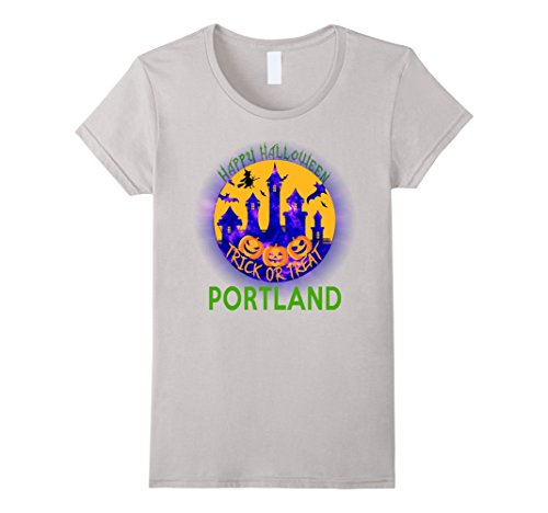 Womens Happy Halloween Trick Or Treat Portland 2017 T Shirt XL Silver (Halloween Costumes Portland Or)