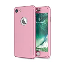 iPhone 6/6S Case, FLOVEME 4.7 inch 2 in 1 360 Degree All-Round Protection [Slim Fit] PC Hard Cover with Tempered Glass Screen Protector for Apple iPhone 6 and iPhone 6S - Rose Gold