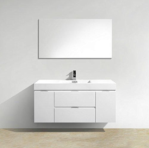 Enovaus Bliss Single Sink Wall Mount Modern Bathroom Vanity Cabinets and Acrylic Sink Combo (48 inch, High Gloss White) (Bliss Vanity)