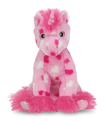 Bearington Enchanted Hearts Pink Plush Stuffed Animal Unicorn with Hearts, 10 inches -