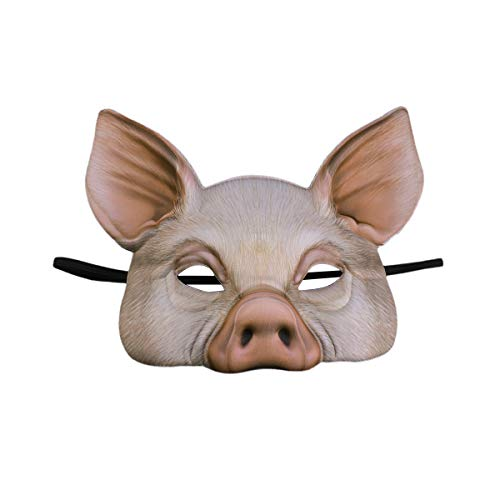 Toyvian Pig Mask Half Face Animal Eye Mask for Halloween,Party Mask,Cosplay Party(Pink) ()