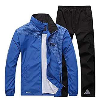 Mens Casual Breathable Jacket and Pants Sports Full Zip Outfits Jogging Jogger Sweatsuits Blue L