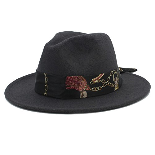 Douhuayu Wool Fedora Hat with Cloche Ribbon Winter Autumn Wide Brim Jazz Church (Color : 11, Size : 57-59CM) by Douhuayu