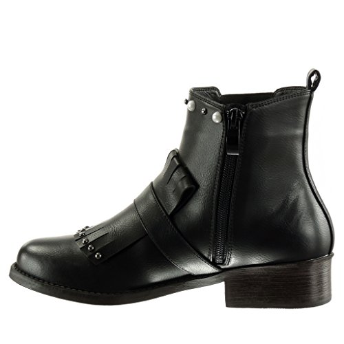 Boots 5 Studded Pearl Black Cavalier Block Boots cm 3 Fashion Ankle Shoes Chelsea Biker Angkorly Women's Fringe Heel Booty High qRxwgInnTp