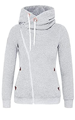 Women Zipped Jacket Long Sleeve High Necked Pocket Hoodie Sweatshirt Hooded Coat