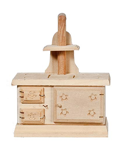 Melody Jane Dollhouse Miniature Old Fashioned Stove Unfinished Bare Wood