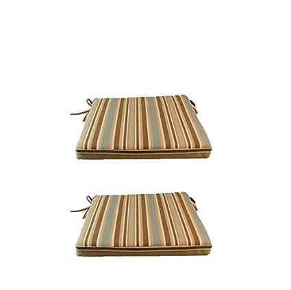 Edenjardi Pack 2 Cojines para sillas y sillones de jardín Color Lux Estampado a Rayas | Tamaño 44x44x5 cm | Repelente al Agua | Desenfundable | ...