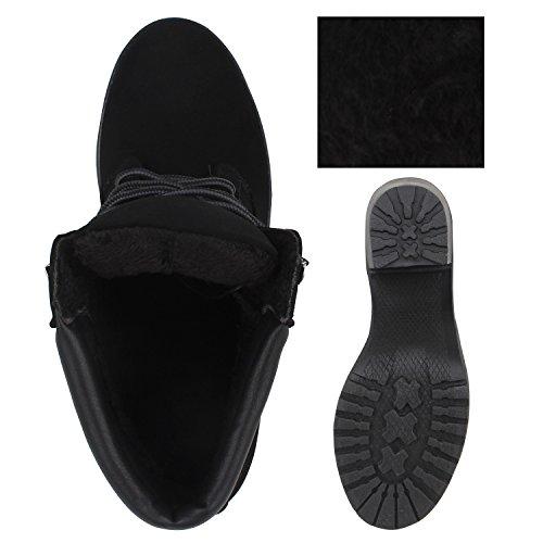 Stiefelparadies Damen Stiefeletten Blockabsatz Boots Schnürstiefeletten Flandell Schwarz