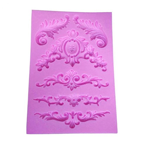Blisscomdep Vintage Baroque Style Curlicues Scroll Lace Fondant Flower Mould for Cake Border Decorations Cupcake Topper Jewelry Polymer ClayCrafting Projects DIY Silicone Baking Mold
