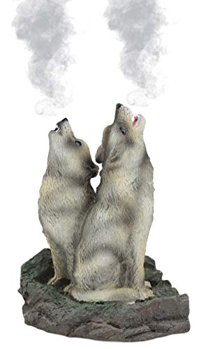 (Ebros Howling Twin Gray Wolves Incense Burner Figurine 5.5 Inch Tall As Home Fragrance Decor Figurine Accessory and Gift Ideas for Moms Women Featuring Timberwolves Totem Wolf Spirit Theme )