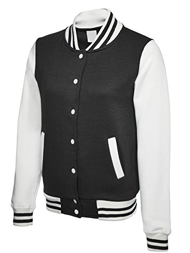 's Letterman Varsity College Sweatshirt Jacket Large Black/White ()