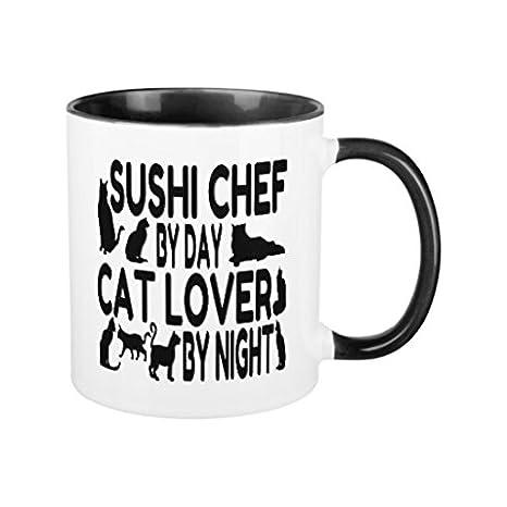 Café tazas Regalos para Navidad gato amante Sushi Chef refranes ml taza de cerámica regalo para él regalo para ella: Amazon.es: Hogar