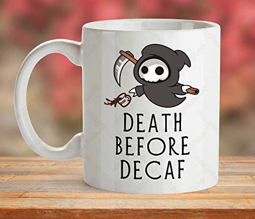 Death Before Decaf Mug, Grim Reaper Mug, Skull Death Reaper Cup, Fun Coffee Mug, Halloween Mug Gift, Spooky Cup Gift, Gift For Macabre -