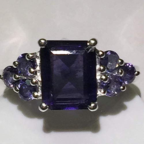 Estate Natural 4ct Iolite { Water Sapphire } 925 Solid Sterling Silver Emerald Cut Ring sz 5.75, 6, 6.75, 7, 8, 8.75, 9, 9.25, -