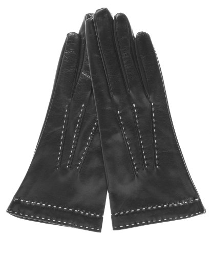 Fratelli Orsini Women's Italian Silk Lined Leather Gloves with Contrast Stitching Size 7 1/2 Color Black by Fratelli Orsini