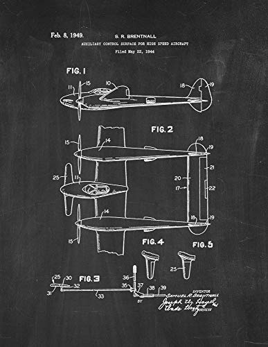 Auxiliary Control Surface for Highspeed Aircraft Patent Print Chalkboard (18