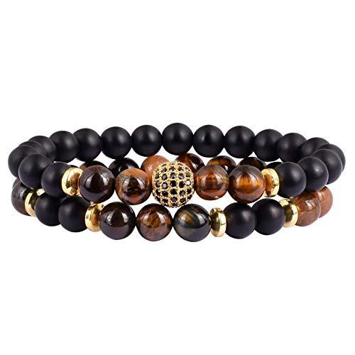 SX Commerce 2PCS Black Onyx Mantra Prayer Beads Bracelet for Men Women Cross Natural Stone (Tiger Eye)