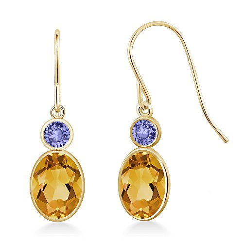 Gem Stone King 1.44 Ct Oval Yellow Citrine Blue Tanzanite 14K Yellow Gold Earrings