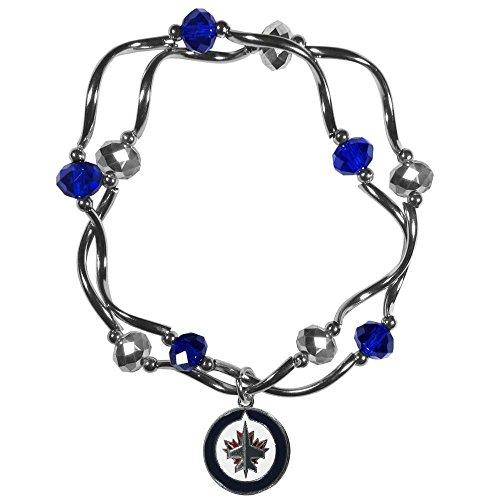 NHL Winnipeg Jets Womens Crystal Bead Braceletcrystal Bead Bracelet, Metal, Stretch (Jet Stretch Bracelet)