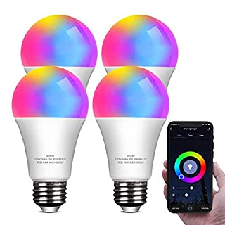 Smart LED Light Bulb Work with Alexa and Google Home A19 E26 9W 806lm Multicolor 2.4 GHz WiFi Dimmable Lights Bulbs Equivalent RGB Color Changing Bulb (4 Bulbs)