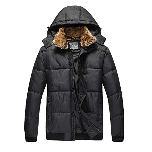Henoo Mens Hooded Winter Jacket - Outdoor Thick Down Jacket with Removable Faux Fur Collar Hood, Black & White
