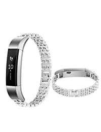 Watch Band, ABC Luxury Stainless Steel Wrist strap Watch Band for Fitbit Alta Smart Watch (Silver)