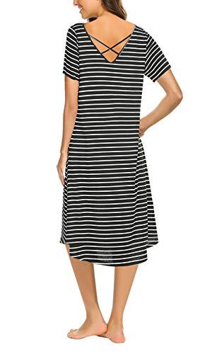 Shirt Midi Black Cross with Sleeve Casual Pocket Short T Dress Criss Women's Striped Loose fZ6wxqz18